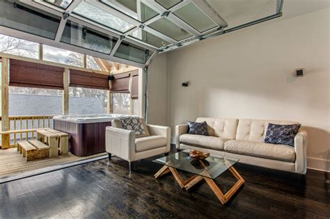 Family Room Garage by Loft Interior Sectional Glass Garage Door Transitional
