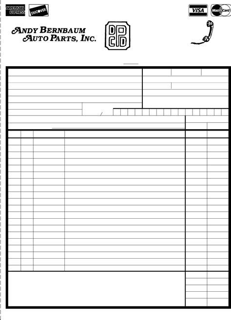parts order form order form andy bernbaum auto parts free