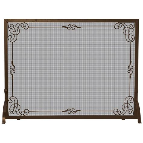 Fireplace Screen Single Panel by Uniflame Bronze Single Panel Fireplace Screen With