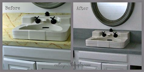 Spray Painting Kitchen Cabinets White by Faux Cement Concrete Painted Countertops Cottage