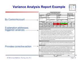 variance analysis report template evms refresher and update ppt