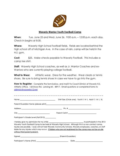 Sponsorship Letter Youth Football Archived News Waverly Community Schools