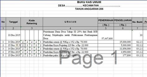 format buku excel format laporan buku kas umum bku dan kwitansi dana desa