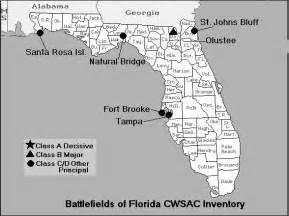 civil war battles in florida map florida civil war map of battles
