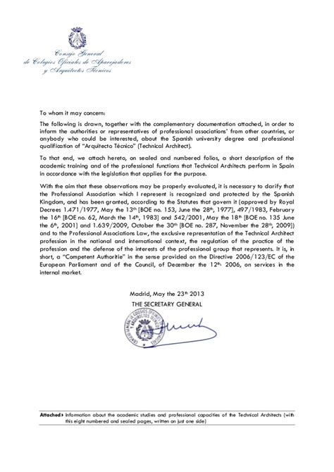 Letter Agreement Espanol Cover Letter Of General Of The Council Of Technical