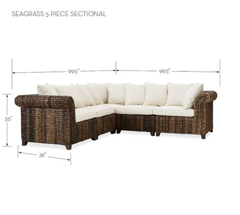 pottery barn seagrass sectional pottery barn seagrass sectional sofa refil sofa