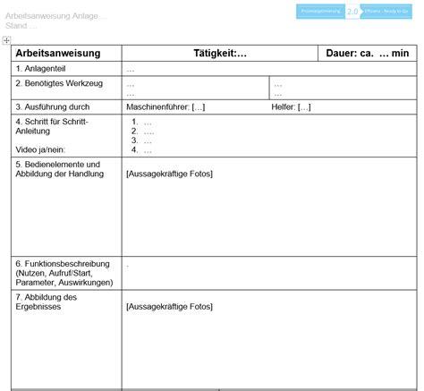 Word Vorlage Konzept vorlage arbeitsanweisungen prozessoptimierung 2 0