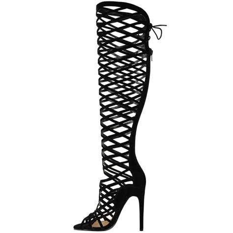 knee high gladiator sandals heels womens cut out lace knee high heel boots gladiator