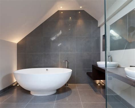P Shaped Shower Bath 1700 gray tile bathroom houzz