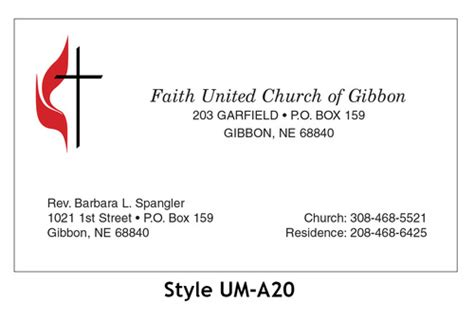 United Methodist Business Cards united methodist business card 2 color woolverton
