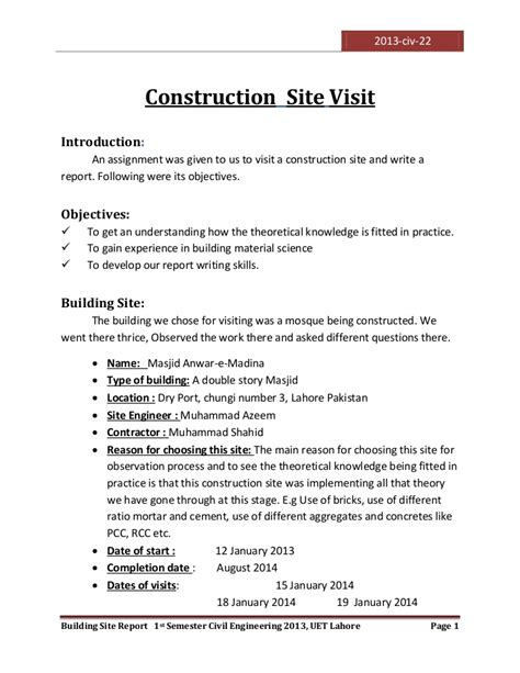 Construction Site Visit Report Doc