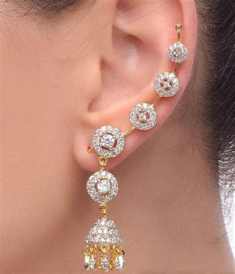 Best Earrings by Jewels Galaxy Alloy Gold Plated American Studded