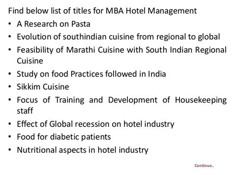 Mba In Hotel And Restaurant Management by Project Report Titles For Mba In Hotel Management