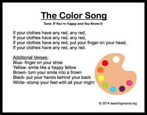 what rhymes with color 10 preschool songs about colors