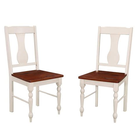 White Wood Dining Chairs Walker Edison Furniture Company Brown And White Wood Dining Chair Set Of 2 Hdhw2tlwbn The