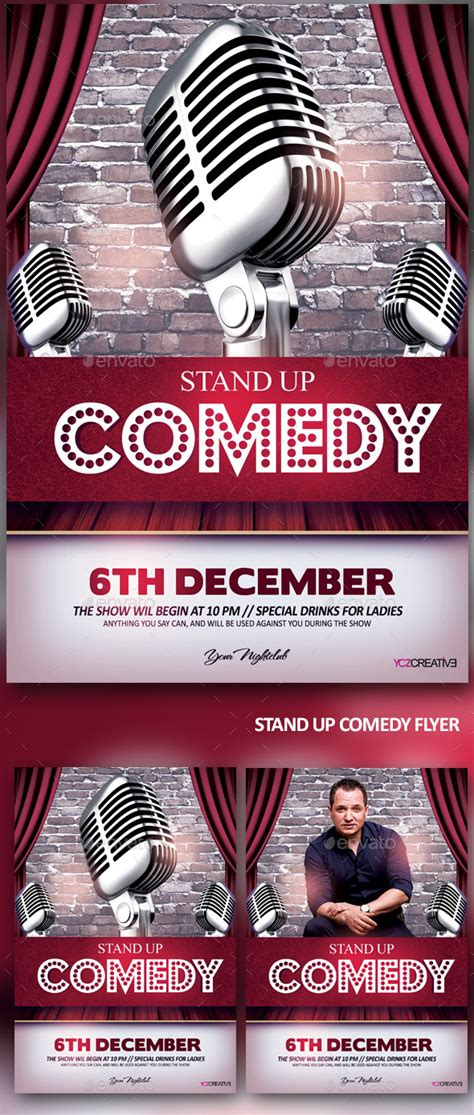 Stand Up Comedy Show By Yczcreative Graphicriver Comedy Show Ticket Template