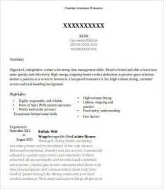 Cashier Hostess Resume Sle Hostess Resume Template 9 Free Word Pdf Documents
