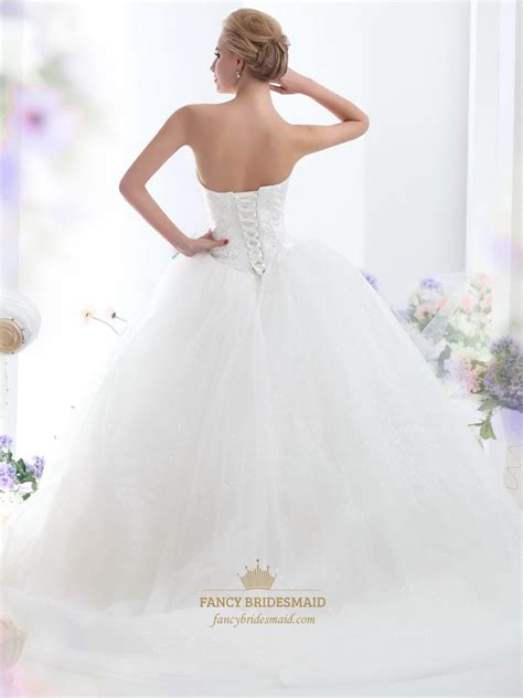 ivory strapless tulle ball gown sweep train wedding
