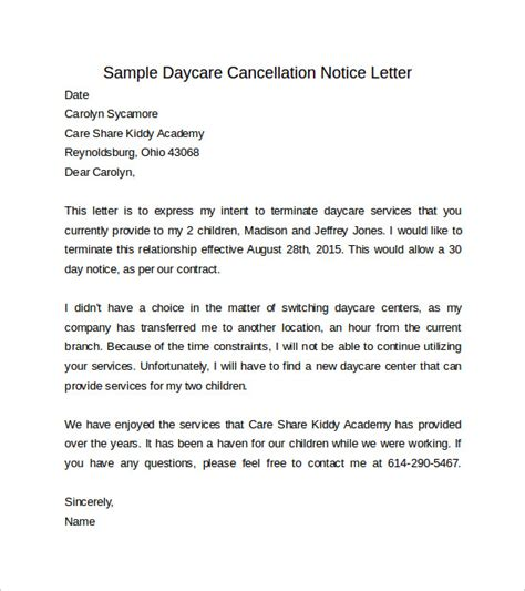Cancellation Notice Format Sle 30 Days Notice Letter 7 Free Documents In Word Pdf