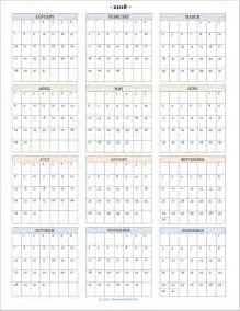 2018 Year At A Glance Calendar Printable 2018 Calendars For Advanced Planning