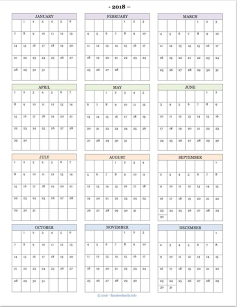 printable calendar year at a glance 2018 2018 calendars for advanced planning flanders family
