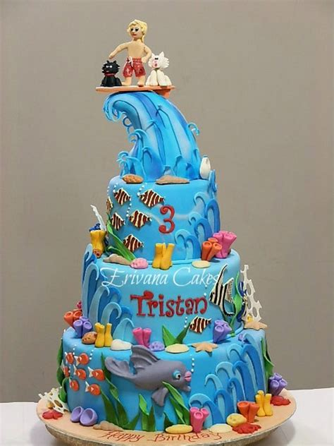 Surf Cake Decorations by Seawater And Surfing Cake Cakecentral