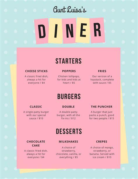 custom menu template restaurant menu maker design custom menus canva