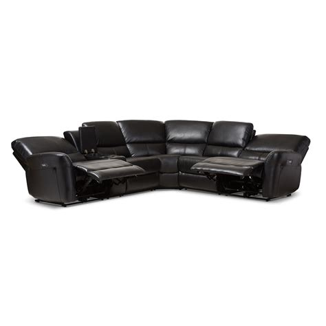 5 piece leather sectional sofa baxton studio amaris modern and contemporary black bonded
