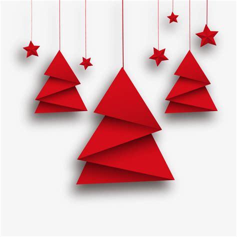 arbol de navidad papiroflexia vector arbol de navidad origami y estrellas rojas