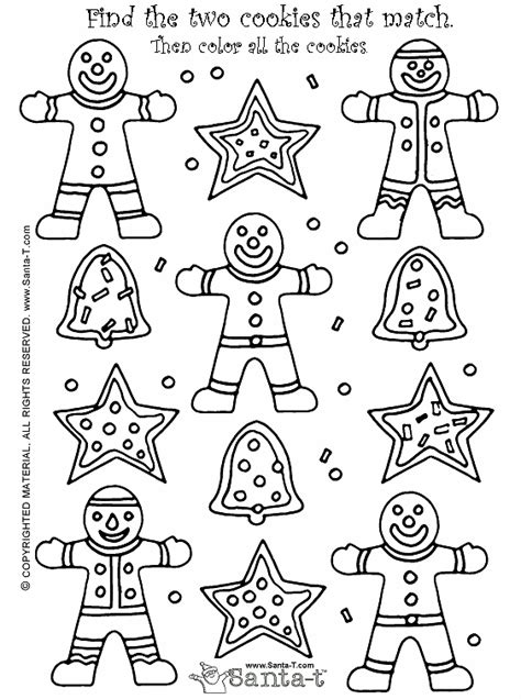 christmas gingerbread cookie match activity and coloring page