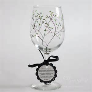 Painted Wine Glasses Woodland Twig Painted Wine Glass