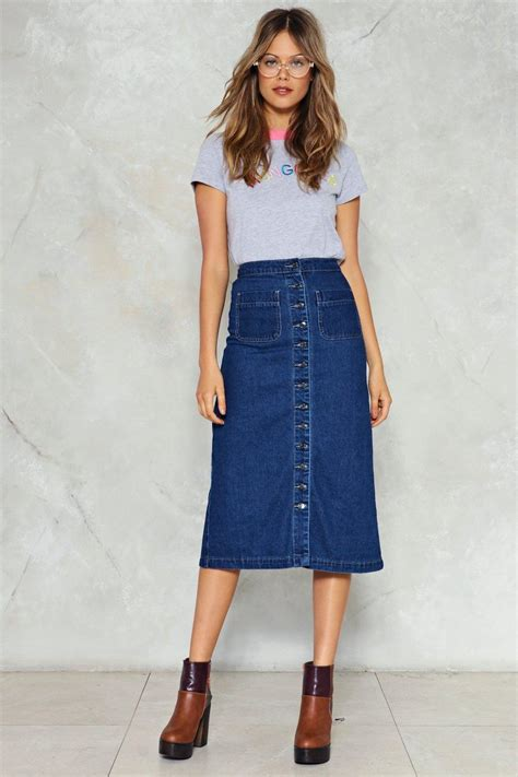 add denim midi skirts to your fashions to look more