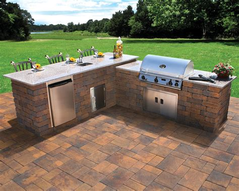 nicolock outdoor kitchen and grill contemporary patio