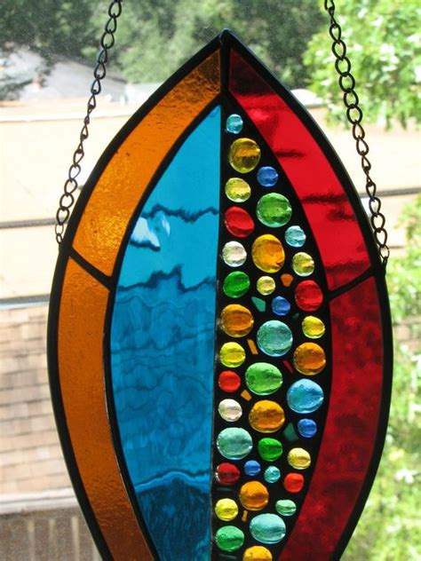 stained glass suncatcher fall colors botanical ii