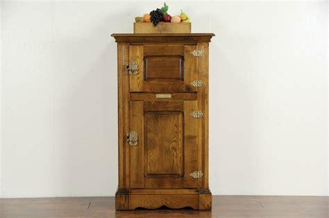 sold oak 1890 antique ice box raised panels signed