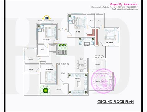 kerala house floor plans spacious single floor house with floor plan kerala home
