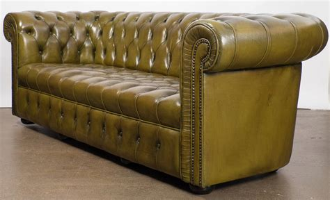 green chesterfield sofa leather vintage green leather chesterfield sofa at 1stdibs