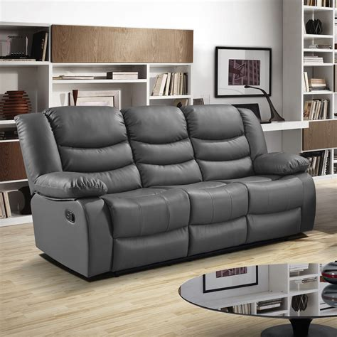 Grey Leather Reclining Sectional Grey Recliner Sofa Majestic Gray Fabric Upholstery