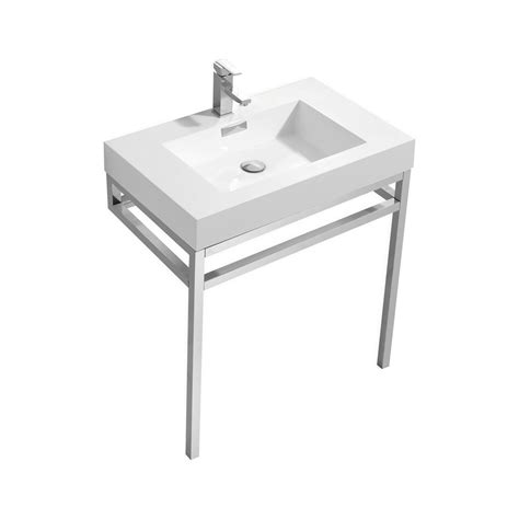 White Stainless Steel Sink Haus 30 Quot Stainless Steel Console W White Acrylic Sink