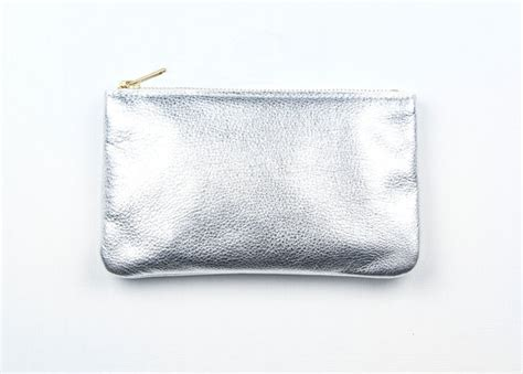 Silver Leather by Mae Silver Leather Wallet Silver Leather Pouch Metallic