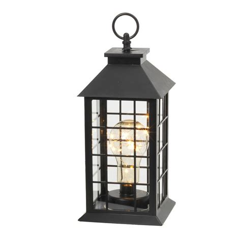 11 in black battery operated plastic lantern with 10