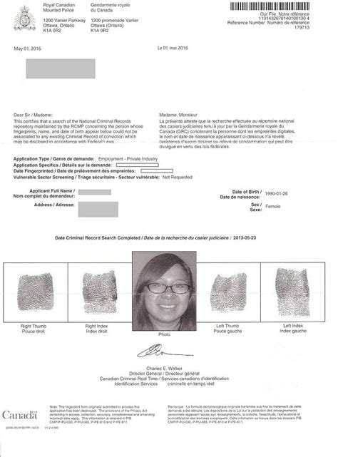 Certified Criminal Record Check Canada Forms Exle Documents Gone2korea