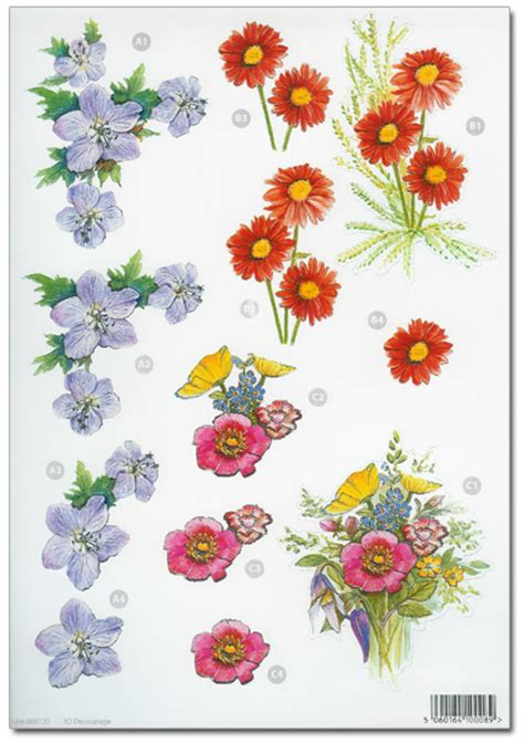 Floral Decoupage - die cut 3d decoupage a4 sheet floral designs 120 163 1