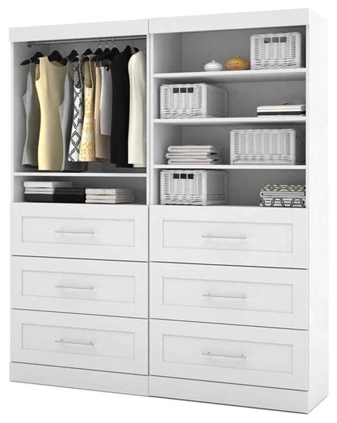 Closet Storage Shelves And Drawers 72 In Storage Unit With 3 Drawers In White Contemporary
