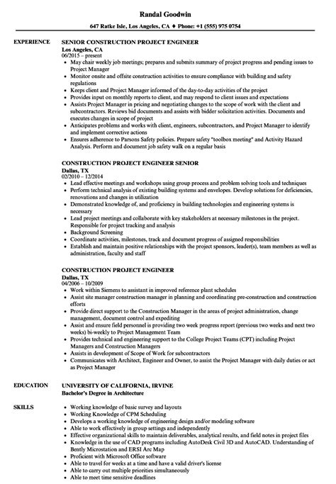 resume format for project engineer construction project engineer resume sles velvet