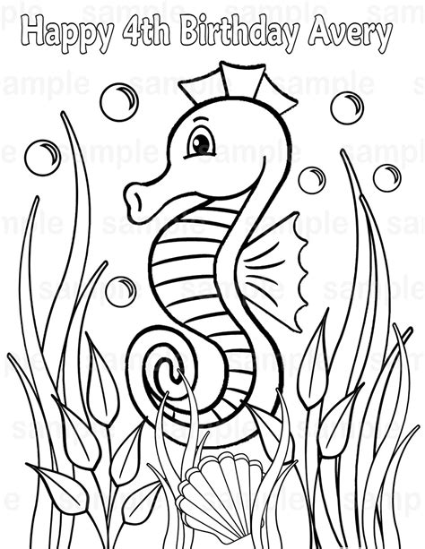 coloring pages pdf file personalized printable sea horse under the sea seahorse