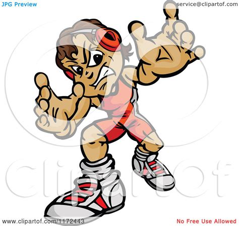 cartoon of a tough wrestler boy reaching out royalty
