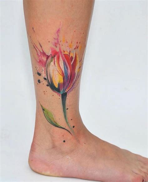 watercolor tulip tattoos 32 best tulip flowers tattoos