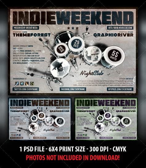 dafont molot indie rock weekend party concert flyer graphicriver