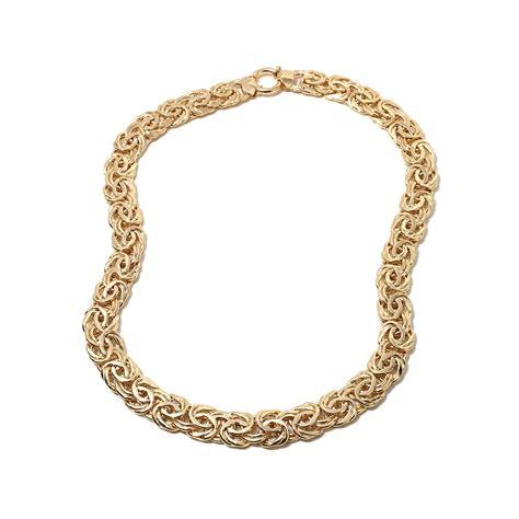 18 quot technibond bold byzantine chain necklace 14k yellow